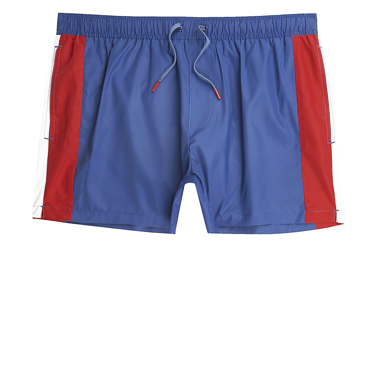 Short de bain colour block bleu et rouge