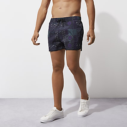 Dark blue tile print runner swim shorts
