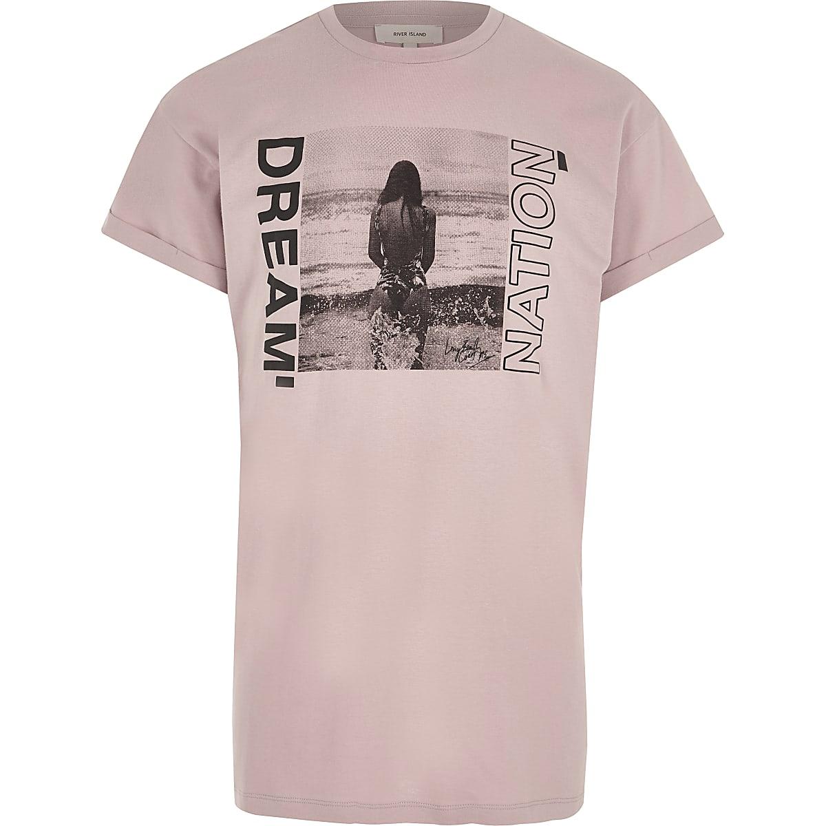 T-shirt imprimé photo «dream nation» rose