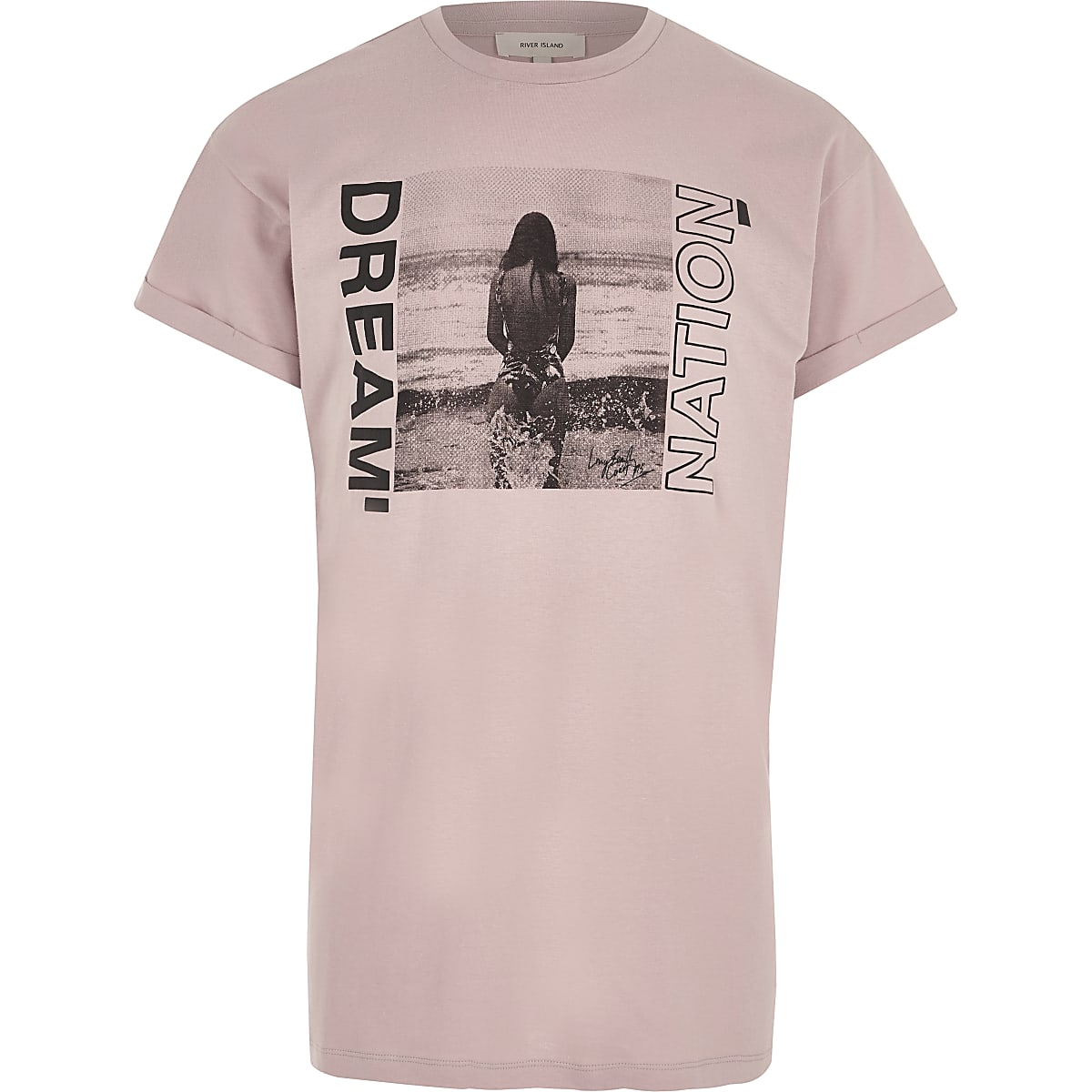 Roze 'dream nation' T-shirt met fotoprint