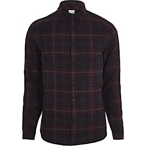 Burgundy check long sleeve shirt