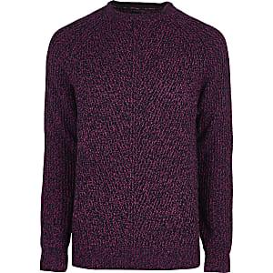 Pinker, strukturierter Pullover mit Rundhalsausschnitt
