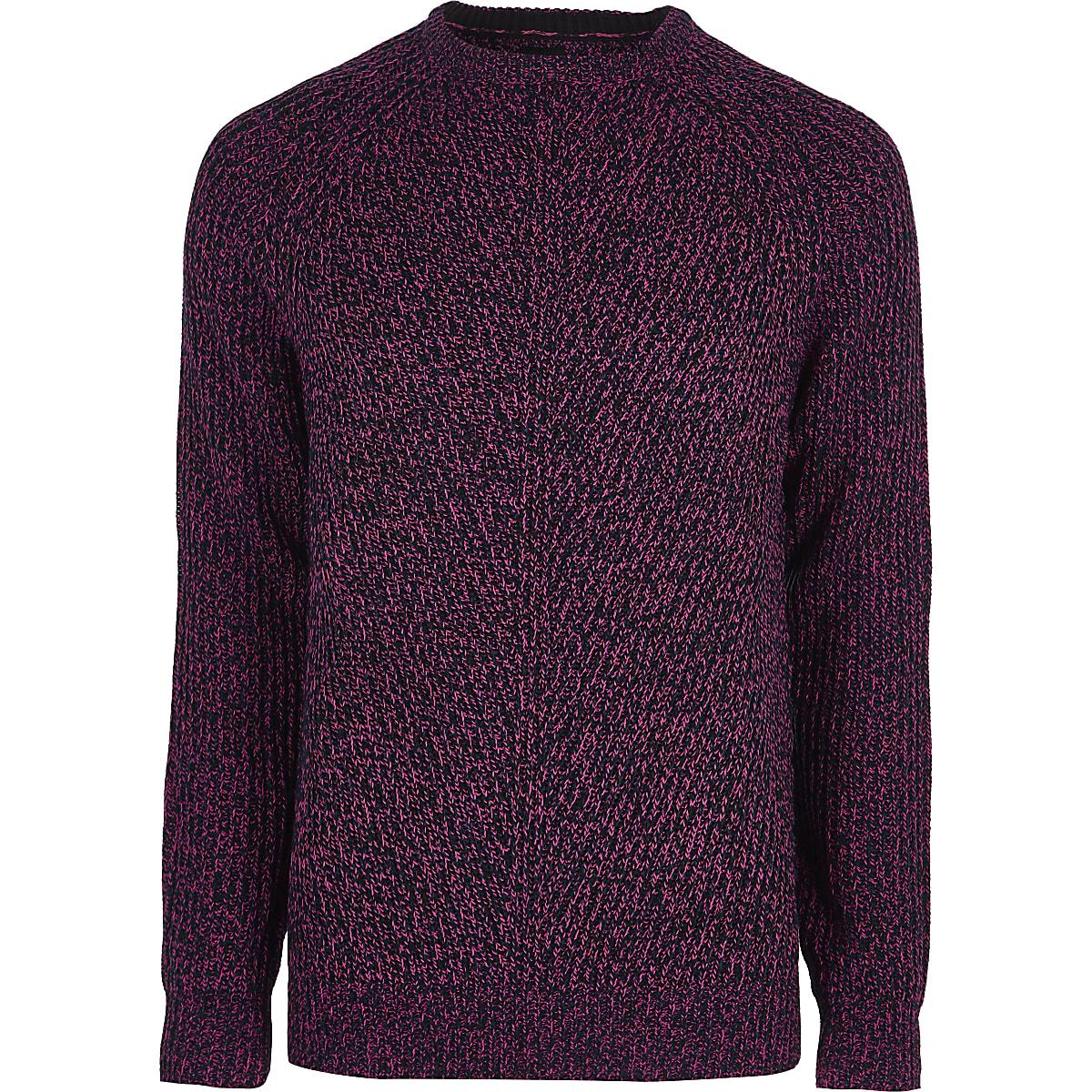 Pink textured crew neck sweater