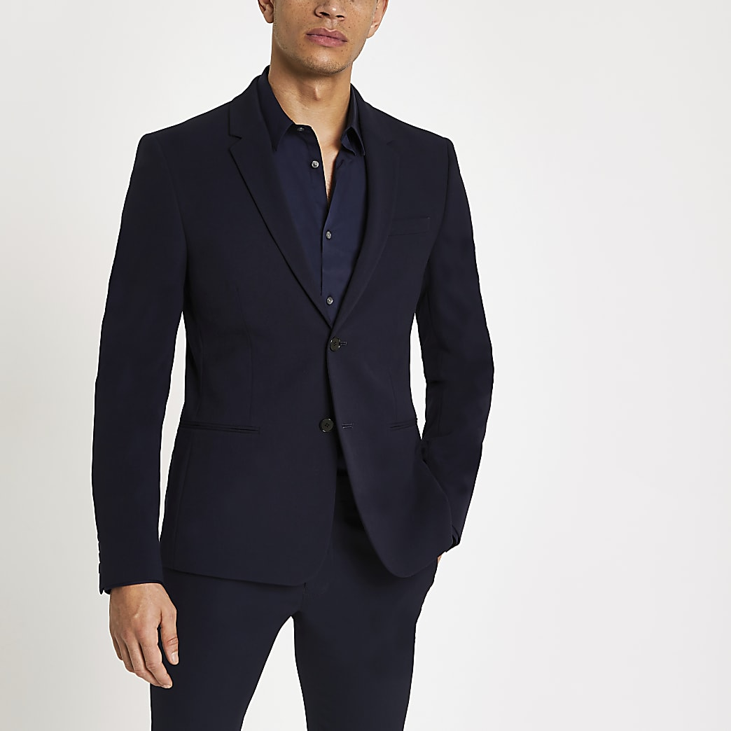 Marineblauw super skinny-fit colbert