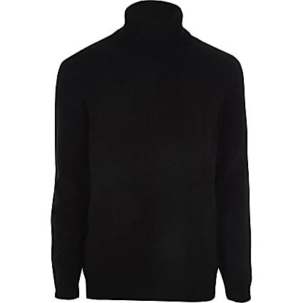Black chenille roll neck jumper