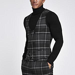 Grey check smart waistcoat