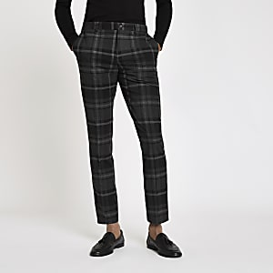 Grey check skinny fit smart pants