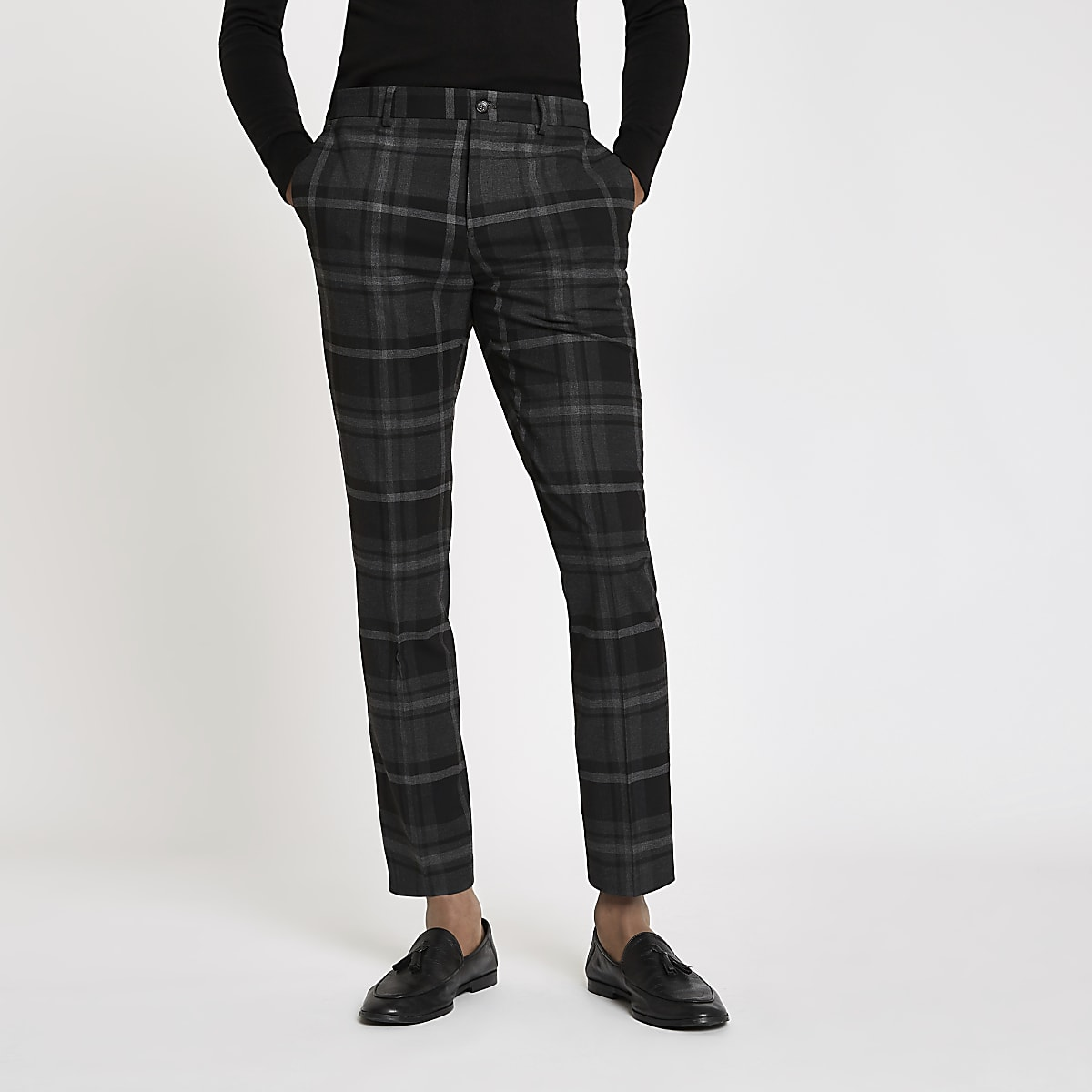 22c0ec72 Grey check skinny fit smart trousers - Smart Trousers - Trousers - men