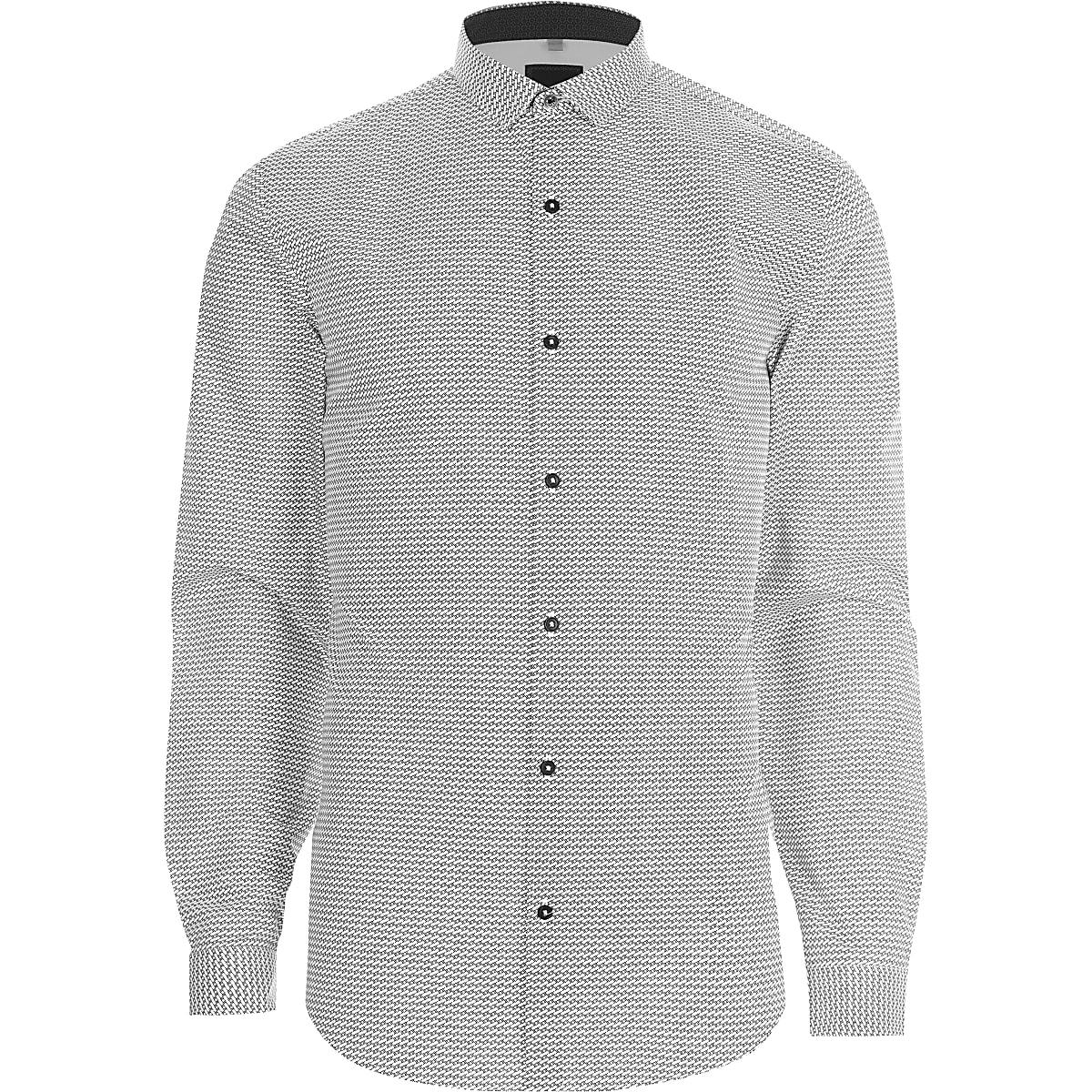 Overhemd Zwart Wit.Zwart Wit Slim Fit Overhemd Met Geoprint Overhemden Met Lange