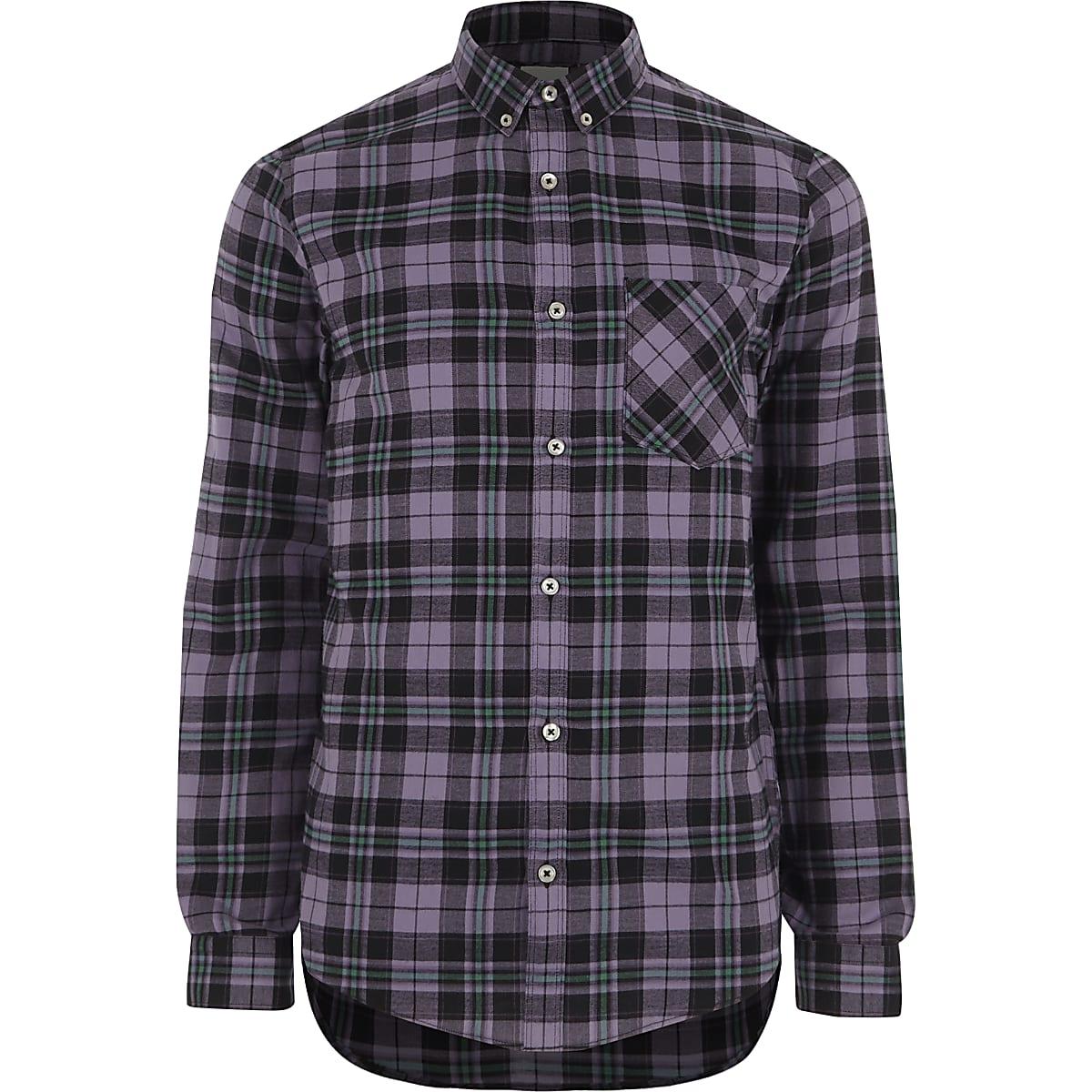 Purple check slim fit long sleeve shirt