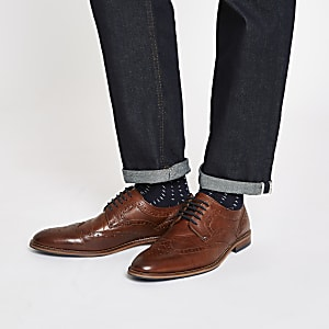 Dark brown leather lace-up brogues