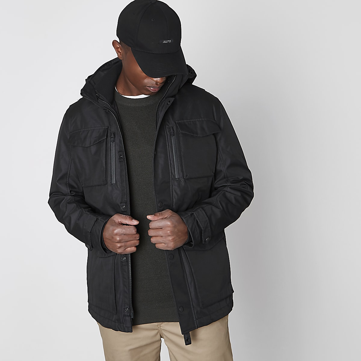 Jack & Jones Premium black parka jacket
