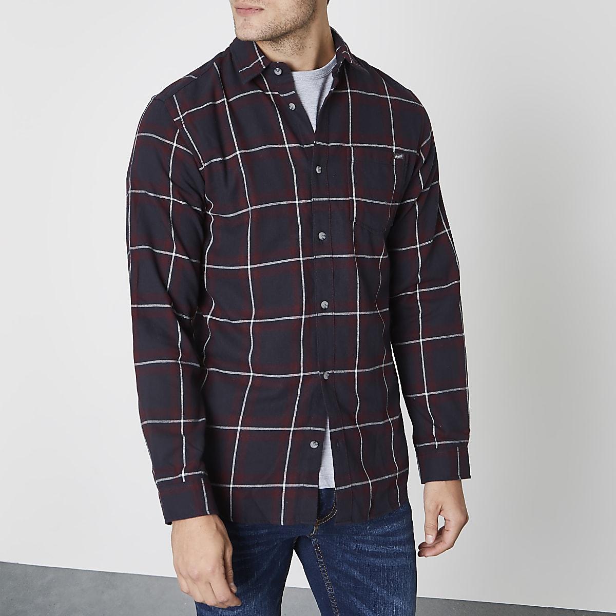 Jack & Jones dark red check long sleeve shirt