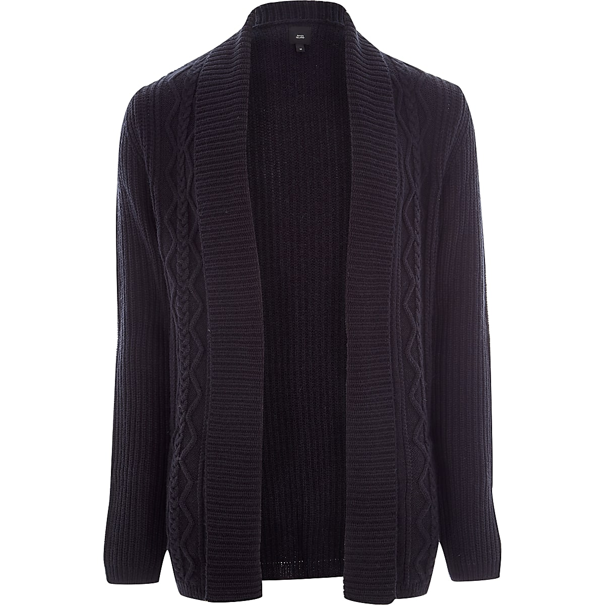 Navy cable knit regular fit cardigan