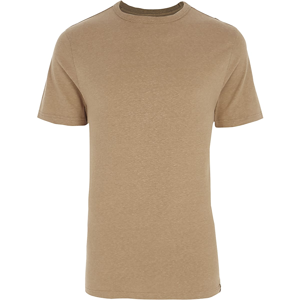 Camel slim fit crew neck T-shirt