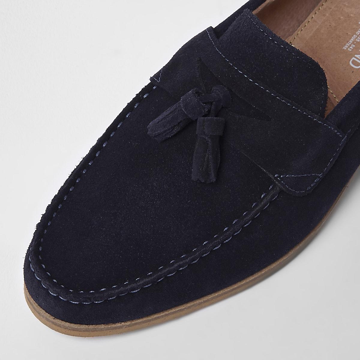 088953c7dc29 Mocassins en daim bleu marine à pampilles - Chaussures - Chaussures ...