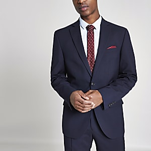 Veste de costume skinny ajustée bleu marine