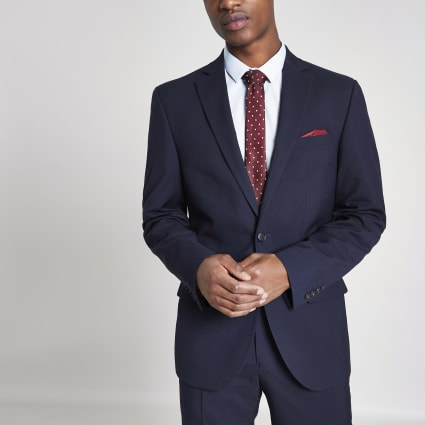Navy skinny tailored fit suit jacket