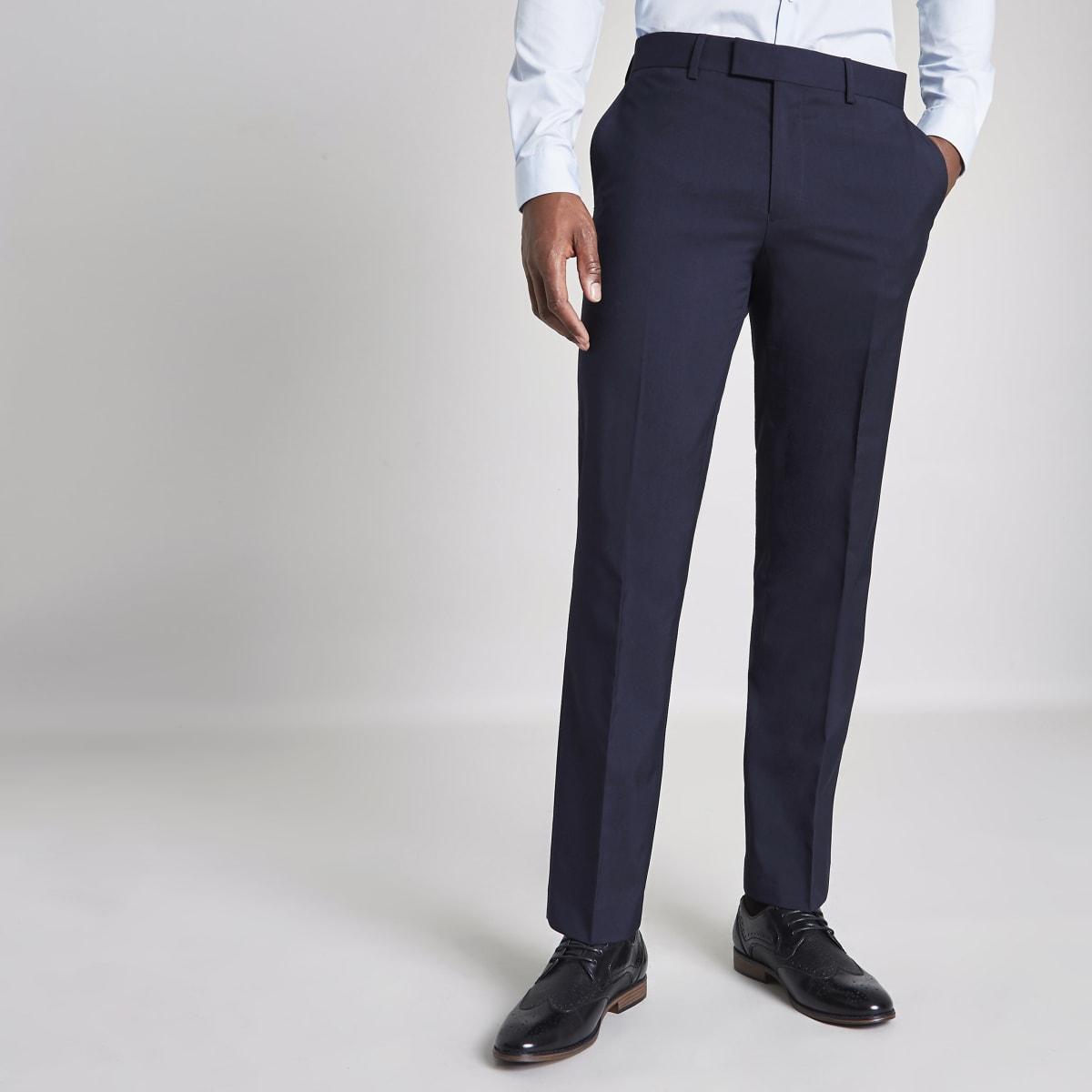 Marineblauwe tailored skinny-fit pantalon