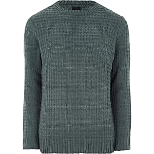 Dark green textured chenille knit sweater