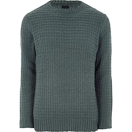 Dark green textured chenille knit jumper