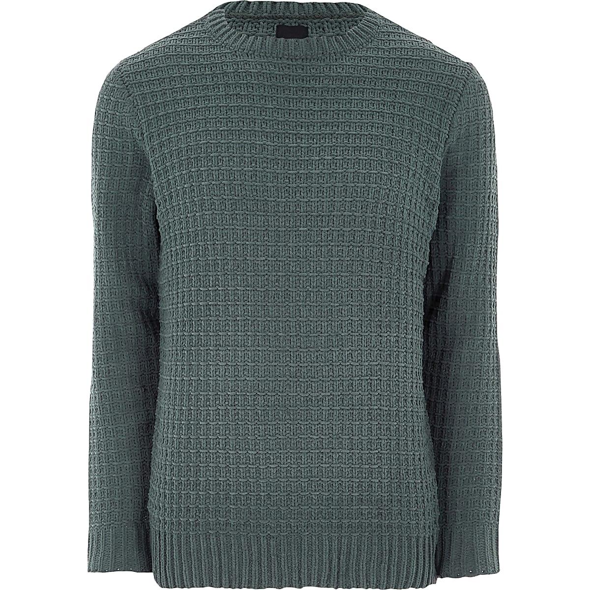 Dark green textured chenille knit jumper