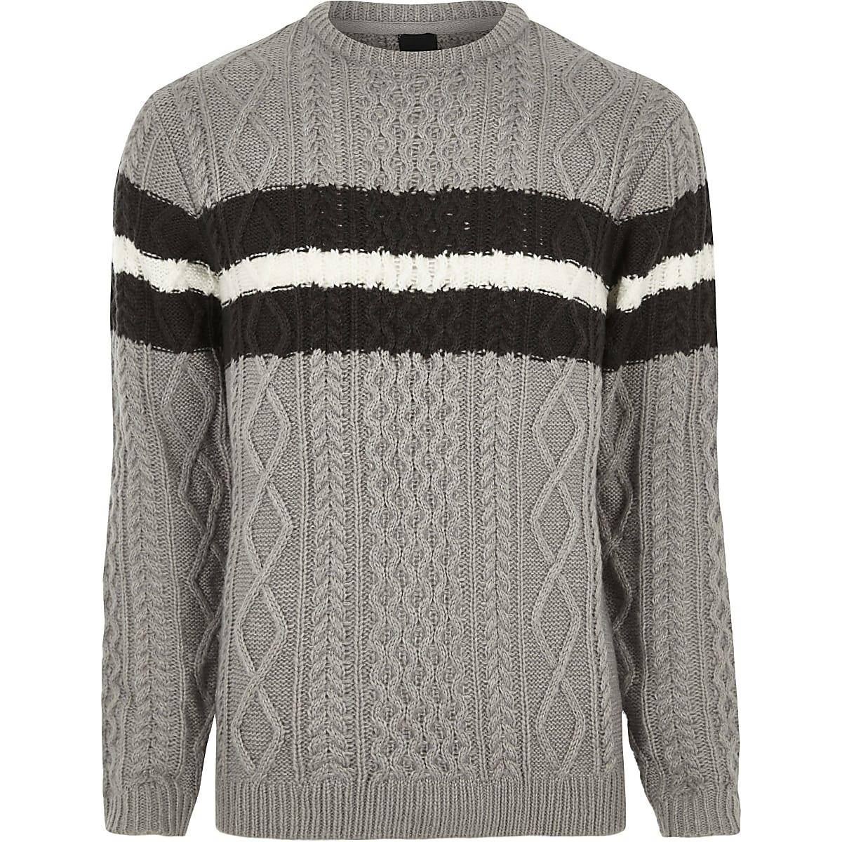 Grey cable knit block stripe knit jumper