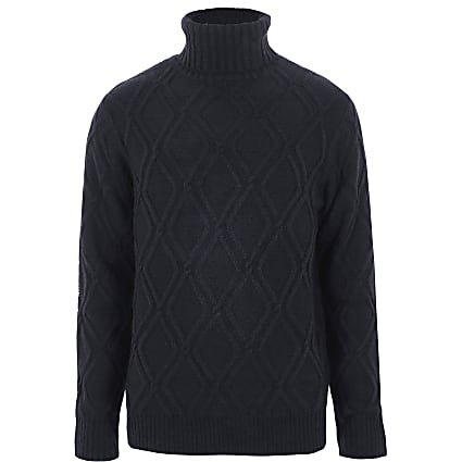 Navy diamond knit roll neck jumper
