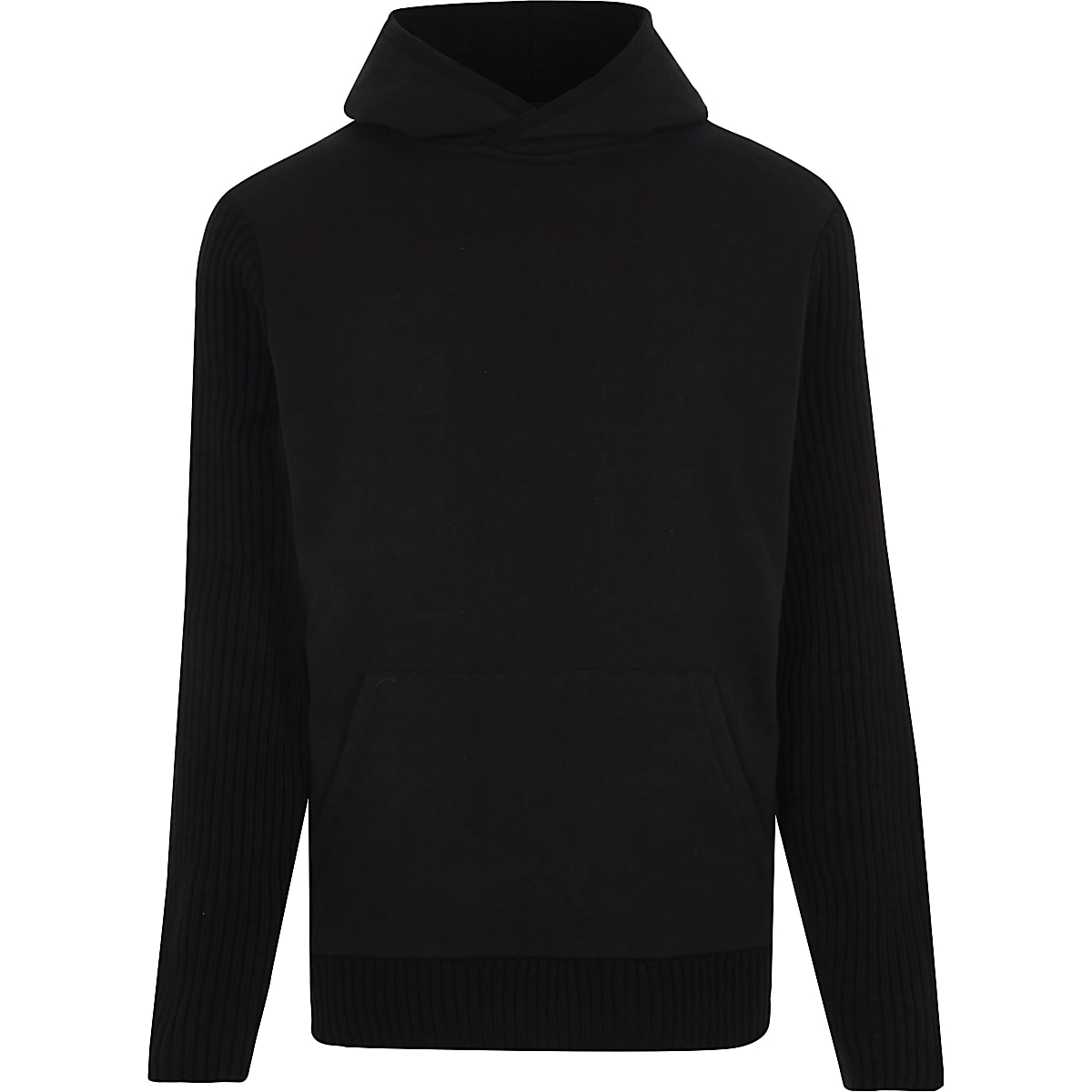 Black long sleeve slim fit ribbed hoodie