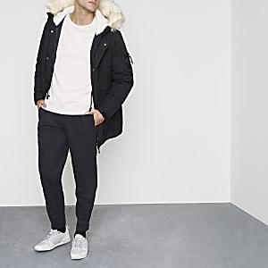Black faux fur trim hooded parka