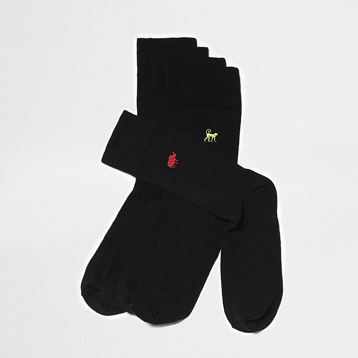 Black animal embroidered socks 5 pack