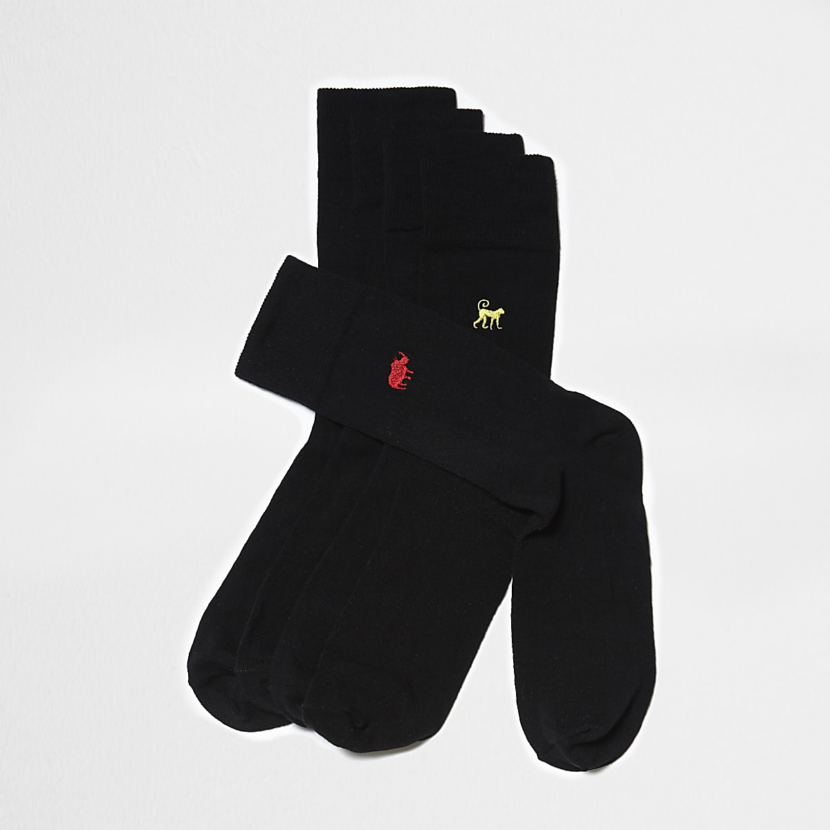 Schwarze Socken mit Stickerei, 5er-Pack