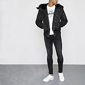 Black faux fur trim hooded jacket
