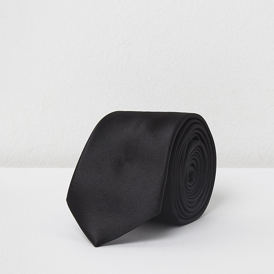Cravate en satin noire