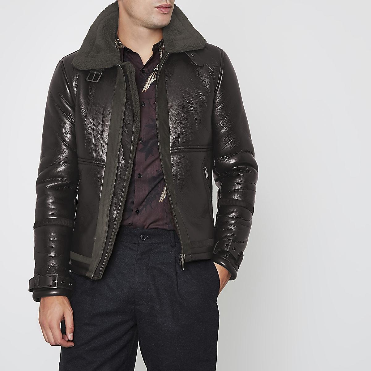 fd5f0a9ead58 Dark brown faux shearling aviator jacket - Jackets - Coats   Jackets - men