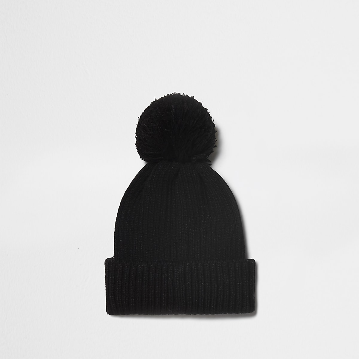 Black ribbed knit bobble beanie hat