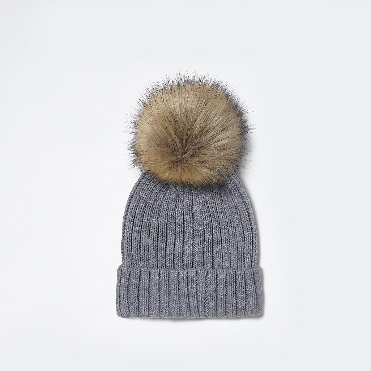 Grey faux fur bobble beanie hat