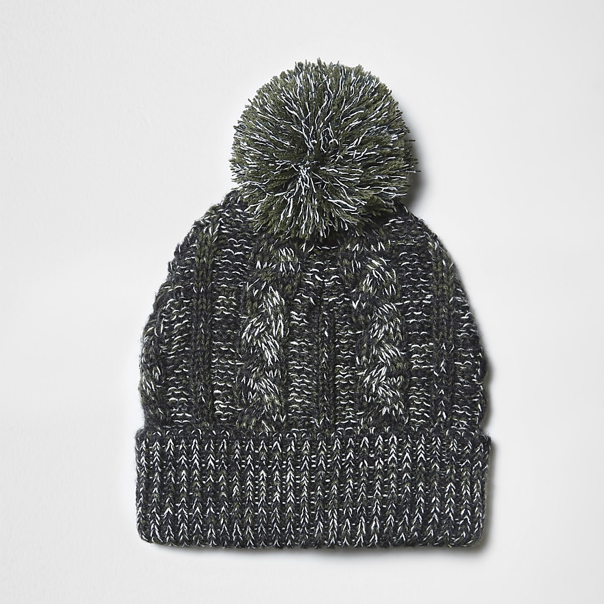 Green cable knit bobble beanie hat