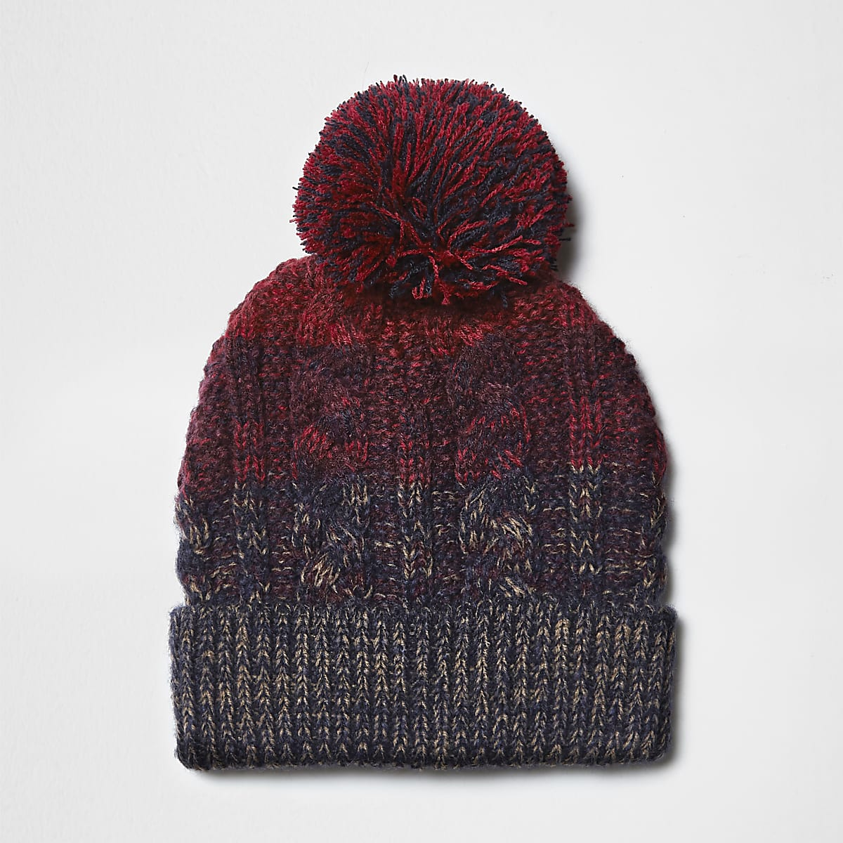 Red and navy cable knit bobble beanie hat