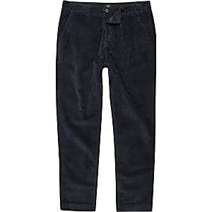 Navy cord tapered pants