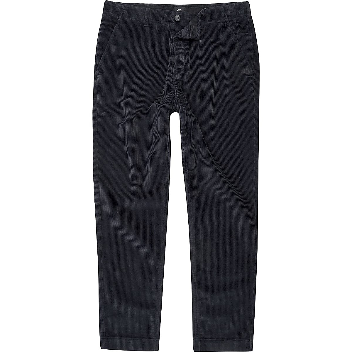 Navy cord tapered trousers