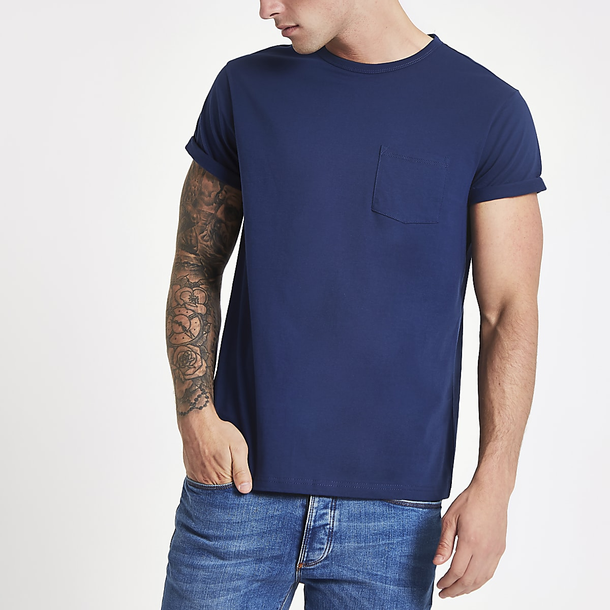 Blue rolled sleeve pocket T-shirt