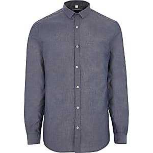 Blue long sleeve chambray slim fit shirt