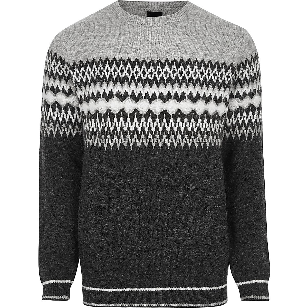 Grey Fairisle block knit Christmas jumper