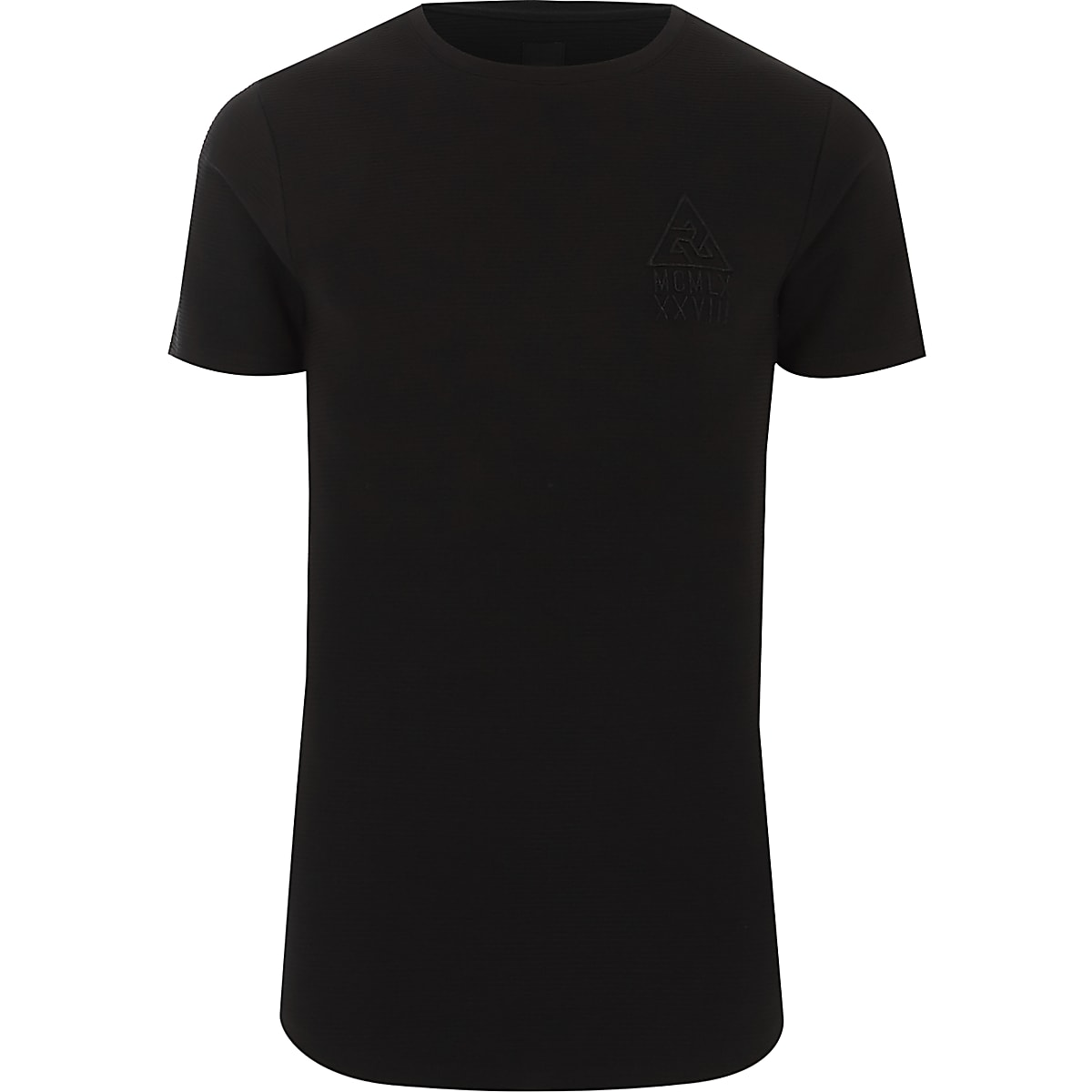 Black ribbed muscle fit logo T-shirt