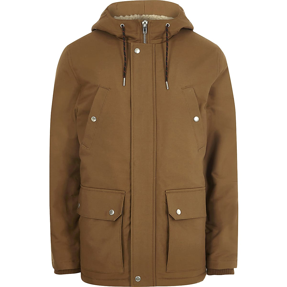 Big and Tall brown hooded borg lined jacket