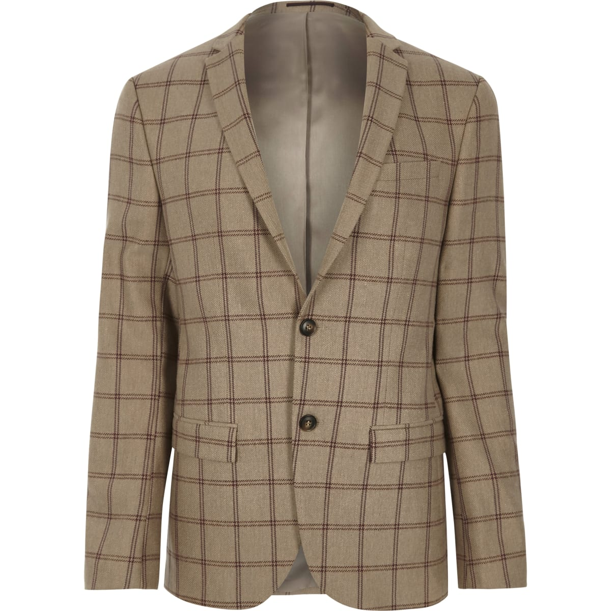Beige check skinny fit suit jacket
