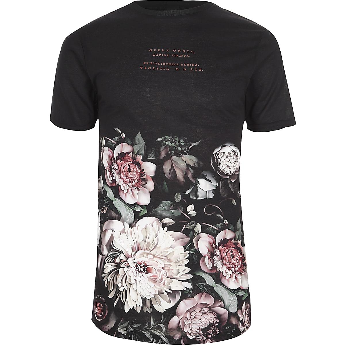 Black floral print crew neck T-shirt