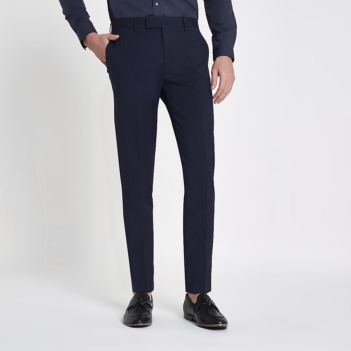 Dark blue stretch skinny fit suit trousers