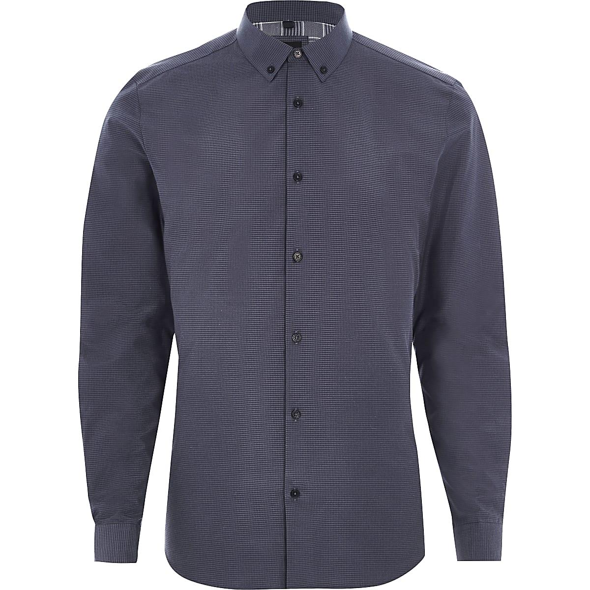 Dark blue micro gingham check slim fit shirt